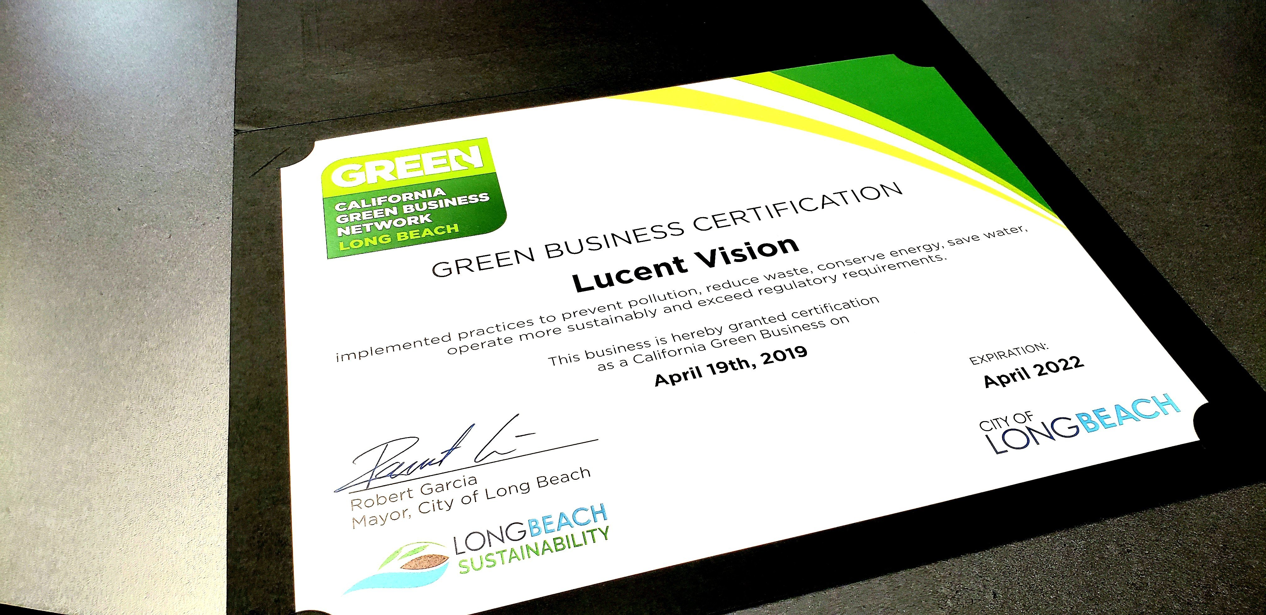 Lucent Vision Is Green Business Certified
